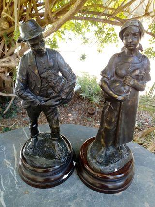 Pareja de esculturas en bronce