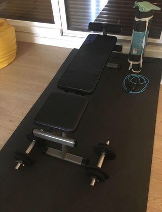 Banco de musculación, pesas y más...