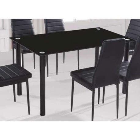 Mesa Comedor vidrio negro + 6 sillas negras de segunda mano por 249 ...