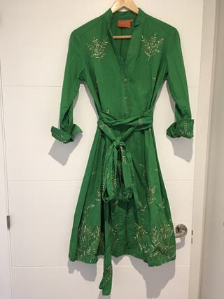 Vestido bordado verde talla 38.