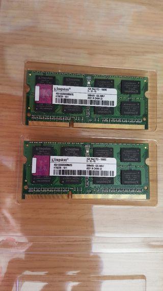 Memoria Kingston 4 GB(2x2 GB) SODIMM DDR3 1066 Mhz