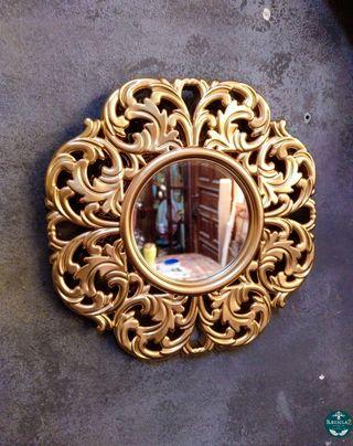 Espejo Barroco Rococo 25cm Diametro Dorado