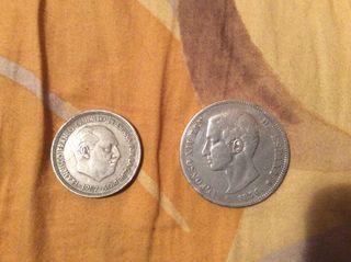 Moneda de plata alfonso 1876 , franco 1957