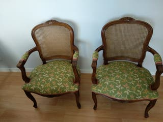 2 Butaca silla vintage tapizadas retro antiguedad