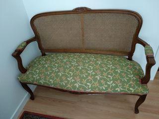 Sofá banco madera vintage tapizado retro nuevo