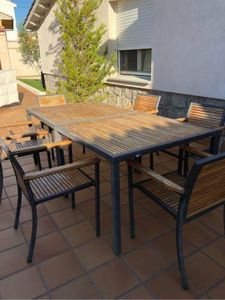 2 mesas madera teka + 6 sillas