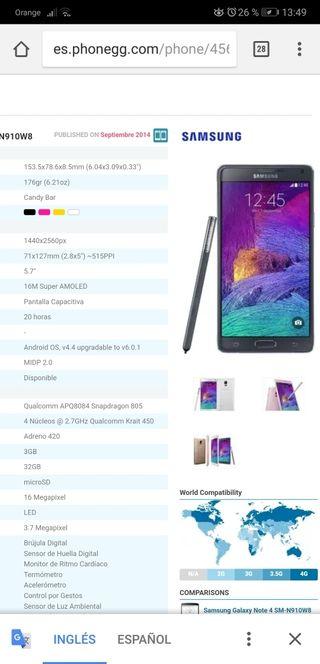 Samsung note 4 w8