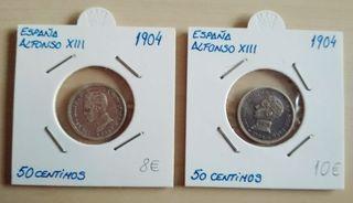 Monedas 50 centimos Alfonso XIII 1904 plata