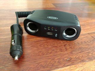 Adaptador doble mechero del coche con USB