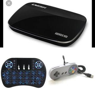 tv box+keyboard+mando snes usb+cientos de juegos