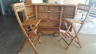 mueble bar nuevo con 2 taburetes