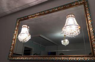 Espejo vintage con 2 lámparas chandelier