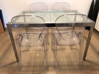 Mesa comedor + 4 sillas Philip Starck