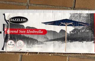 Parasol redondo de madera