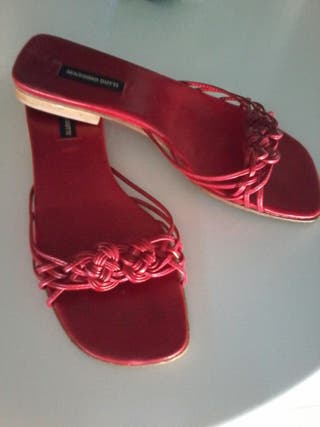 Sandalias de piel rojas T / 36 poco usadas