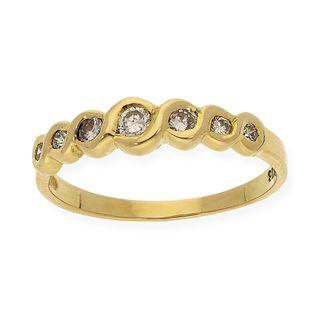 Anillo con 7 Diamantes Brillantes y Oro Ley 18k