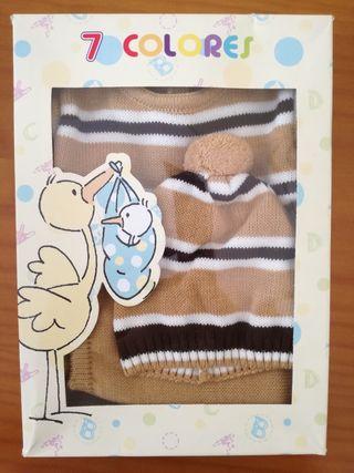 conjunto pantalon, jersey y gorro bebe