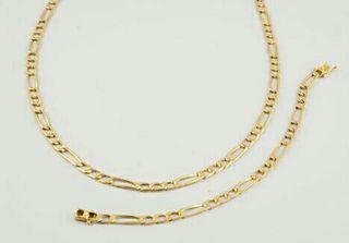 juego de collar y pulsera de oro 18k