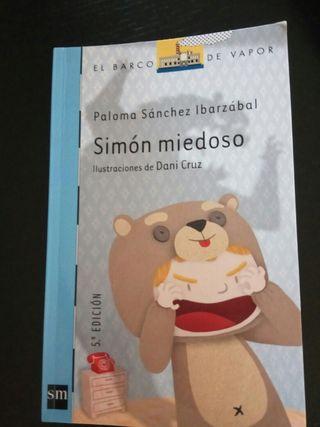 """Libro lectura """"Simón miedoso"""". Barco de vapor."""