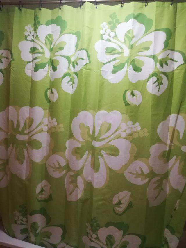 Cortina baño verde 100% poliester