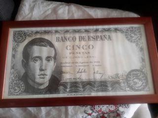 cartel enmarcado de billete de 5 pesetas
