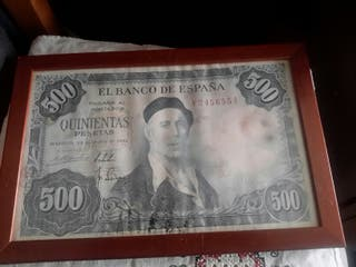 cartel enmarcado de billete de 500 pesetas