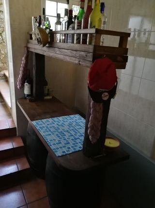 Barra de bar para bodega, con dos cubas, roble