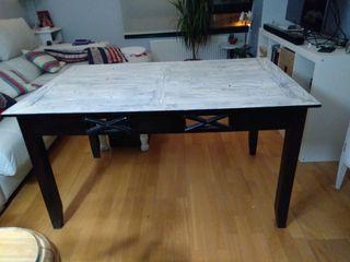 Original mesa de comedor madera maciza antigua