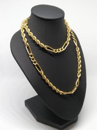 cordón cadena cartier 3x1 oro 60 cm