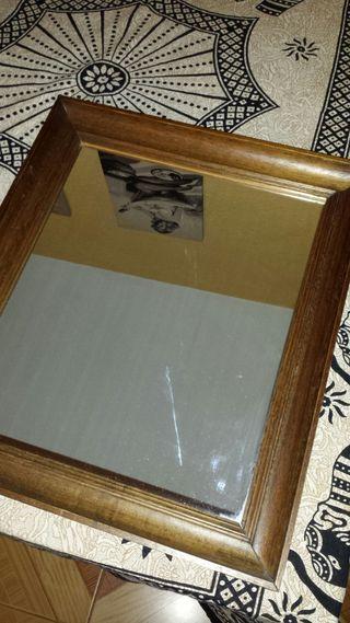 Espejo rústico con marco de madera teka. No ikea