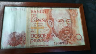 Cartel de billete de 200 pesetas
