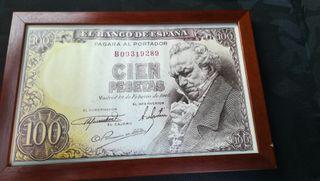 Cartel de billete de 100 pesetas
