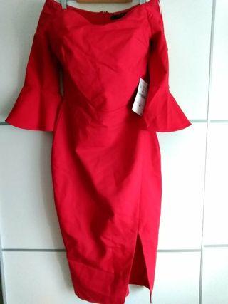Vestido punto rojo zara
