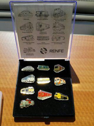 RENFE, estuche 10 pines locomotoras y vagones
