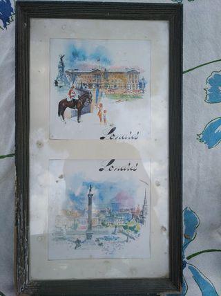 cuadro antiguo con postales de londres