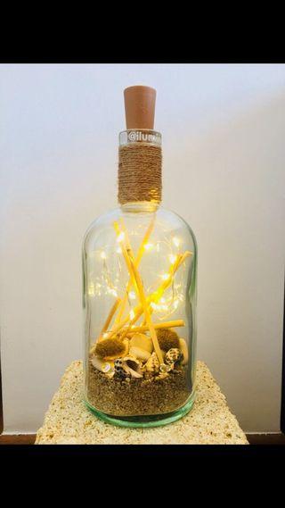 Botellas decorativas luminosas artesanales