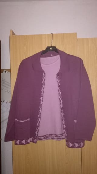 Conjunto rebeca y jersey manga corta