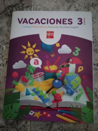 Cuaderno para vacaciones 3°primaria.SM.
