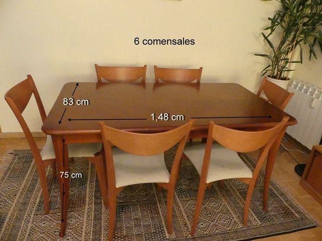 Mesa comedor madera maciza de cerezo y seis sillas de segunda mano ...