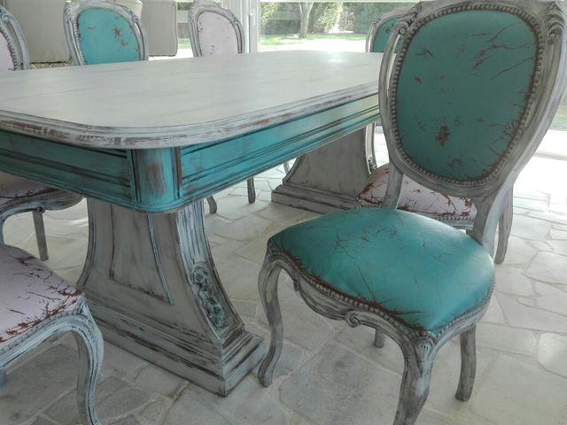 Conjunto mesa comedor y sillas madera vintage de segunda mano por ...