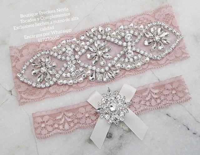Pack de 2 ligas en color rosa , lencería novia