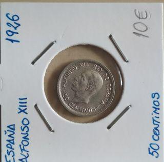moneda Alfonso XIII 50 centimos 1926
