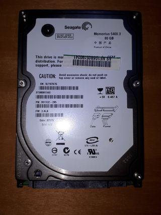 "Disco duro portátil 2.5"" SATA 80GB"