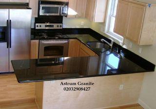 Buy Absolute Black Flamed Granite Kitchen Worktop
