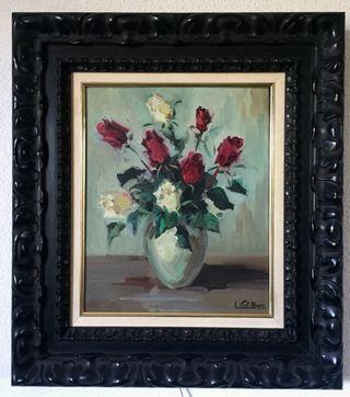 Oleo sobre lienzo de rosas