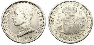 Alfonso XIII, 50 céntimos de 1910 * 10 PCV Plata