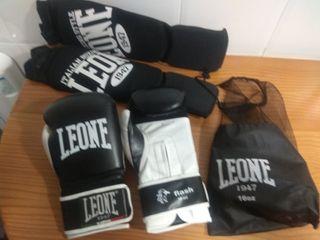 guantes y protectores kick boxing Leone