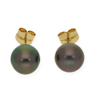 Pendientes Perlas Tahití 10mm en Oro Amarillo 18k