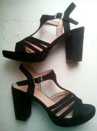 Zapatos/sandalias ante de tacón n°37 mujer