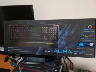 teclado mecanico newskill aura rgb cherry brown